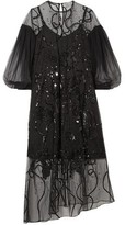 Preen by Thornton Bregazzi Lois Asymmetric Embellished Tulle Midi Dress