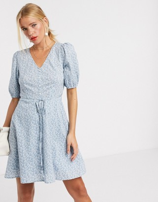 And other stories & organic cotton ditsy floral print tie waist dress in blue