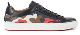 HUGO BOSS Camouflage Pattern Sneakers With Calf Leather Trims - Light Blue