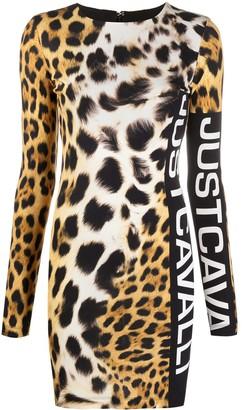 Just Cavalli Leopard-Print Logo Mini-Dress