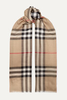 Thumbnail for your product : Burberry Frayed Checked Wool And Silk-blend Scarf - Neutrals