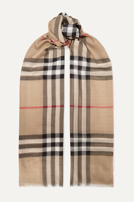 Burberry Frayed Checked Wool And Silk-blend Scarf - Neutrals