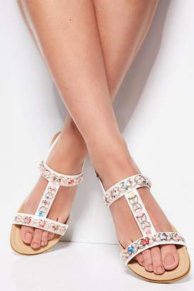 Quiz Comfort White Jewel Trim Flat Sandals