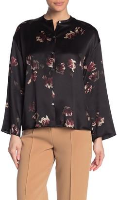 Vince Tulip Print Long Sleeve Silk Blouse