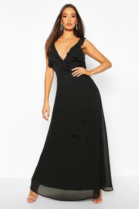boohoo Ruffle Detail Chiffon Maxi Dress