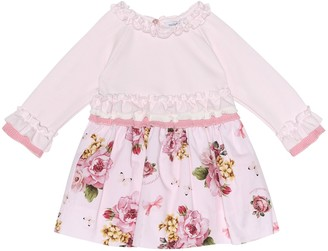 MonnaLisa Baby knit-trimmed floral dress