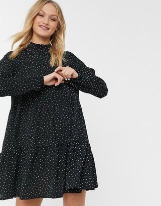 Monki Nola polka dot mini smock dress in black