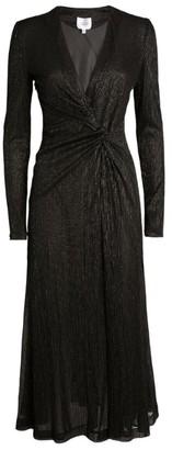 Galvan Plisse Metallic Dress