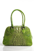 Jalda Green Croc Embossed Leather Structured Medium Tote Handbag