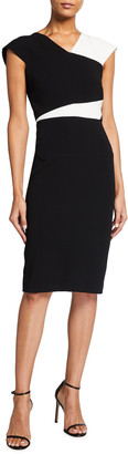 Roland Mouret Beadle Stretch Viscose Colorblock Dress