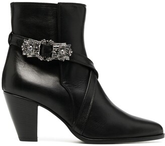 Giannico Bejewelled Buckle Ankle Booties