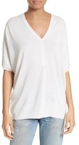 ATM Anthony Thomas Melillo Women's Silk Blend Batwing Henley Sweater