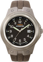 Timex Expedition Mens Brown Leather Strap Gunmetal Watch