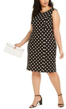 Kasper Plus Size Polka-Dot Sheath Dress