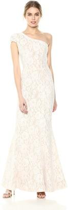 Dress the Population Women's Valentina LACE Cap Sleeve ONE Shoulder Long Dress