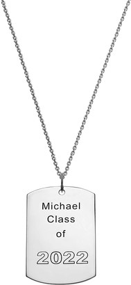 Limoges Jewelry Necklaces SILVER - Sterling Silver Dog Tag Personalized Pendant Necklace