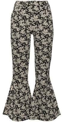 Mother of Pearl Embellished Cotton-blend Floral-jacquard Kick-flare Pants