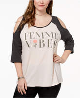 Hybrid Plus Size Femme Vibes Cold-Shoulder T-Shirt