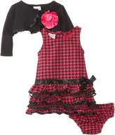 Nannette 3 Piece Rosey Ring Dress with Ribbon, Tack Flower Shrug and Panty, . 24 mo