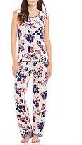 Oscar de la Renta Floral Flutter-Sleeve Pajamas