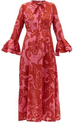 Le Sirenuse Le Sirenuse, Positano - Tracey Paisley-print Cotton Midi Dress - Womens - Pink Print