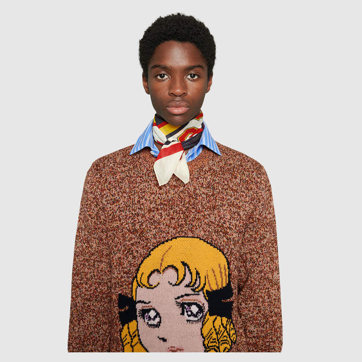 Gucci Scarf with Guccy varsity print