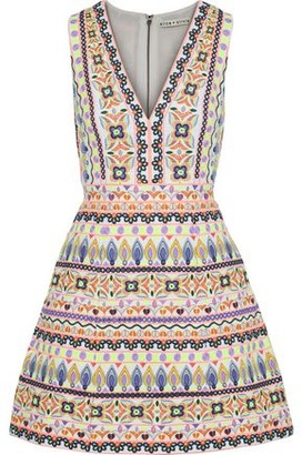 Alice + Olivia Patty Flared Embellished Cotton Mini Dress
