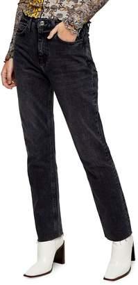 Topshop TALL Black Raw Hem Straight Leg Jeans 30-Inch Leg
