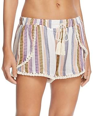 Surf.Gypsy Stripe Split Leg Swim Cover-Up Shorts