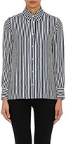 Thom Browne WOMEN'S STRIPED SILK BUTTON-DOWN BLOUSE-NAVY, WHITE SIZE 36 IT
