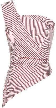 Petersyn Nicole One-shoulder Striped Cotton-poplin Top