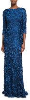 Theia Three-Quarter Sleeve Boat-Neck Petal Gown, Mallard Blue