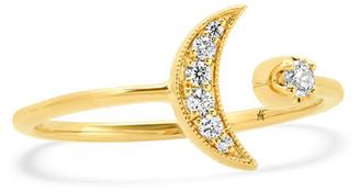 Andrea Fohrman 18k Diamond Crescent Moon Ring, Size 5-7