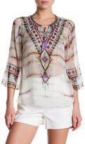 Hale Bob 3/4 Sleeve Embellished Print Silk Tunic