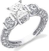 JeenJewels 1.67 Carat Antique Discount Diamond Engagement Ring with Round cut Diamond on 10K White gold