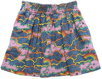 Stella McCartney Kids Clouds Print Stretch Cotton Denim Skirt