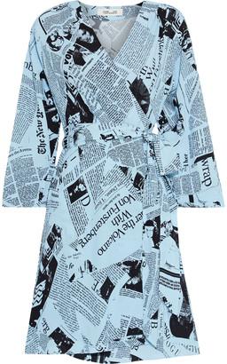 Diane von Furstenberg Sheena Printed Crepe Mini Wrap Dress