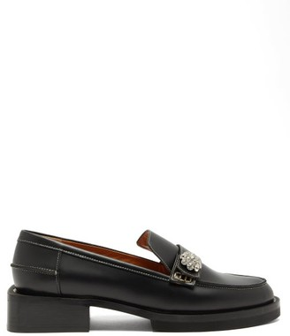 Ganni Crystal-embellished Leather Loafers - Womens - Black