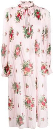 Ganni Cherry Blossom Pleated Midi Dress