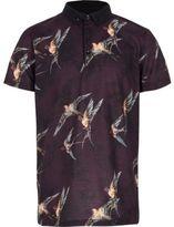 River Island Boys purple bird print polo shirt