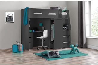 Julian Bowen Max High Sleeper With Desk And Pullout Wardrobe