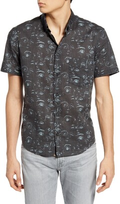 Billy Reid Kirby Slim Fit Short Sleeve Button-Down Shirt
