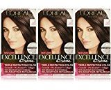 L'Oreal Excellence Creme, 4 Dark Brown, 3 Count, (Packaging May Vary)