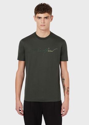 Emporio Armani Mercerised-Jersey T-Shirt With Embroidered Logo Signature