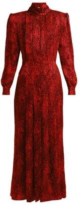 Alessandra Rich Leopard-jacquard Silk Dress - Red Multi
