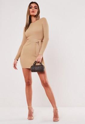 Missguided Rib Long Sleeve Knitted Mini Dress