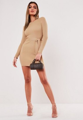 Missguided Sand Rib Long Sleeve Knit Mini Dress