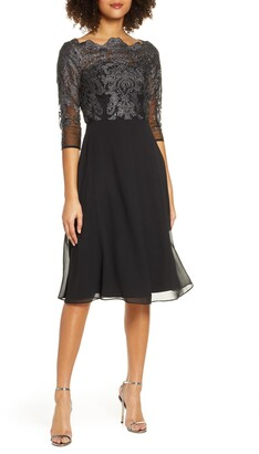 Chi Chi London Myara Glitter Embroidered Lace Cocktail Dress