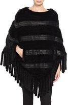 Pologeorgis Fringe Leather-Trim Mink-Fur Poncho, Black