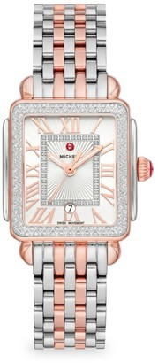 Michele Deco Madison Mid Two-Tone Pink Gold Diamond Watch